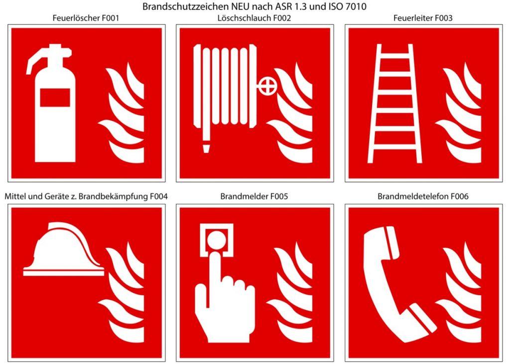 : Sicherheitsmarkierung / Brandschutzzeichen NEU nach ASR 1.3 und ISO 7010