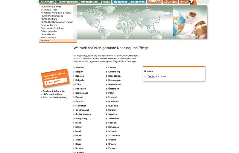 PLATINUM natürliches Futter und Pflege im weltweiten Direktvertrieb. (screen von der Seite weltweit)