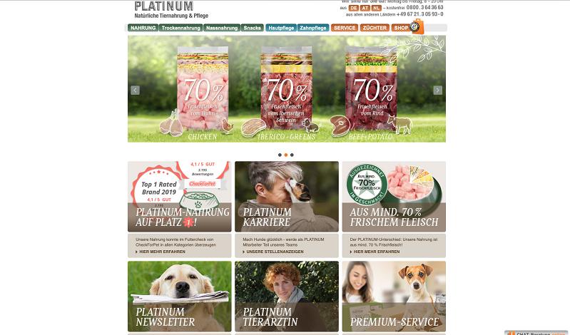 PLATINUM Futter und Pflegeprodukte. Alle Informationen sind auf der informativen Webseite zu finden.